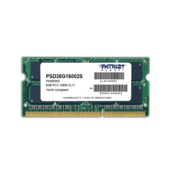 Модуль памяти Patriot DDR3 SODIMM 8GB PSD38G16002S (PC3-12800, 1600MHz, 1.5V)