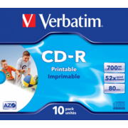 Verbatim Диски CD-R Printable Surface, 700Mb 80 min 52-x (Jewel Case, 10шт.) [43325]