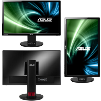 "ASUS 24"" VG248QE 3D, 1920x1080, 1 ms, DVI, HDMI, Display Port, колонки, swivel, tilt, HAS, поворот экрана на 90°, Black, 90LMGG001Q022B1C-"